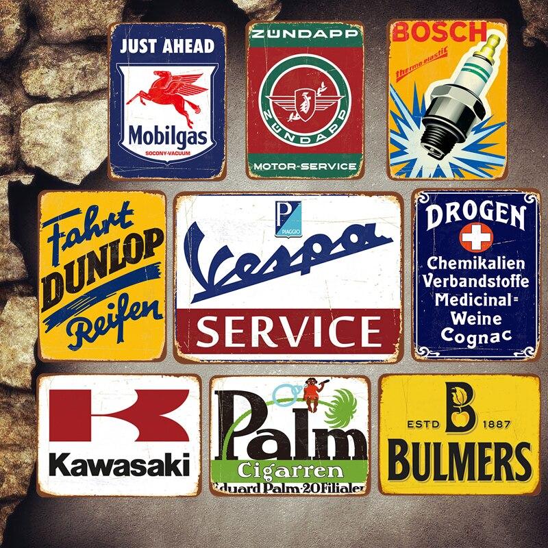 Moto Servizio Plaque Vintage plaques de métal voiture signes décoratifs essence Stickers muraux ventes de pneus en métal affiche Garage décor MN65