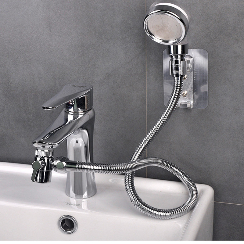 Bathroom Wash Face Basin Water Tap External Shower Head Hair Washing Faucet Rinser Extension Set 1.5M Explosion-proof Hose