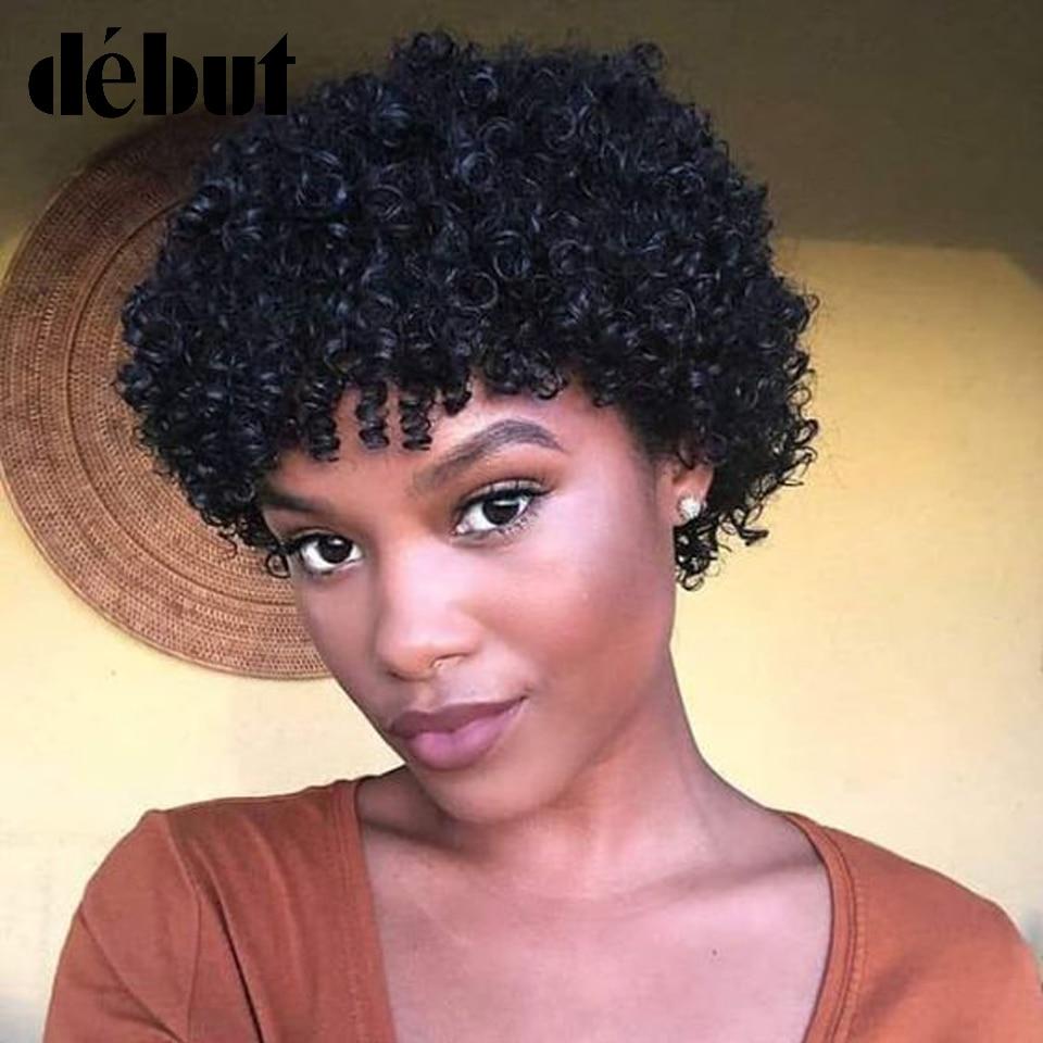 Debut Brazilian Short Curly Bob Wig Remy Human Hair Wigs Pixie Machine Made Jerry Curl Wigs For Black Women Free Shipping