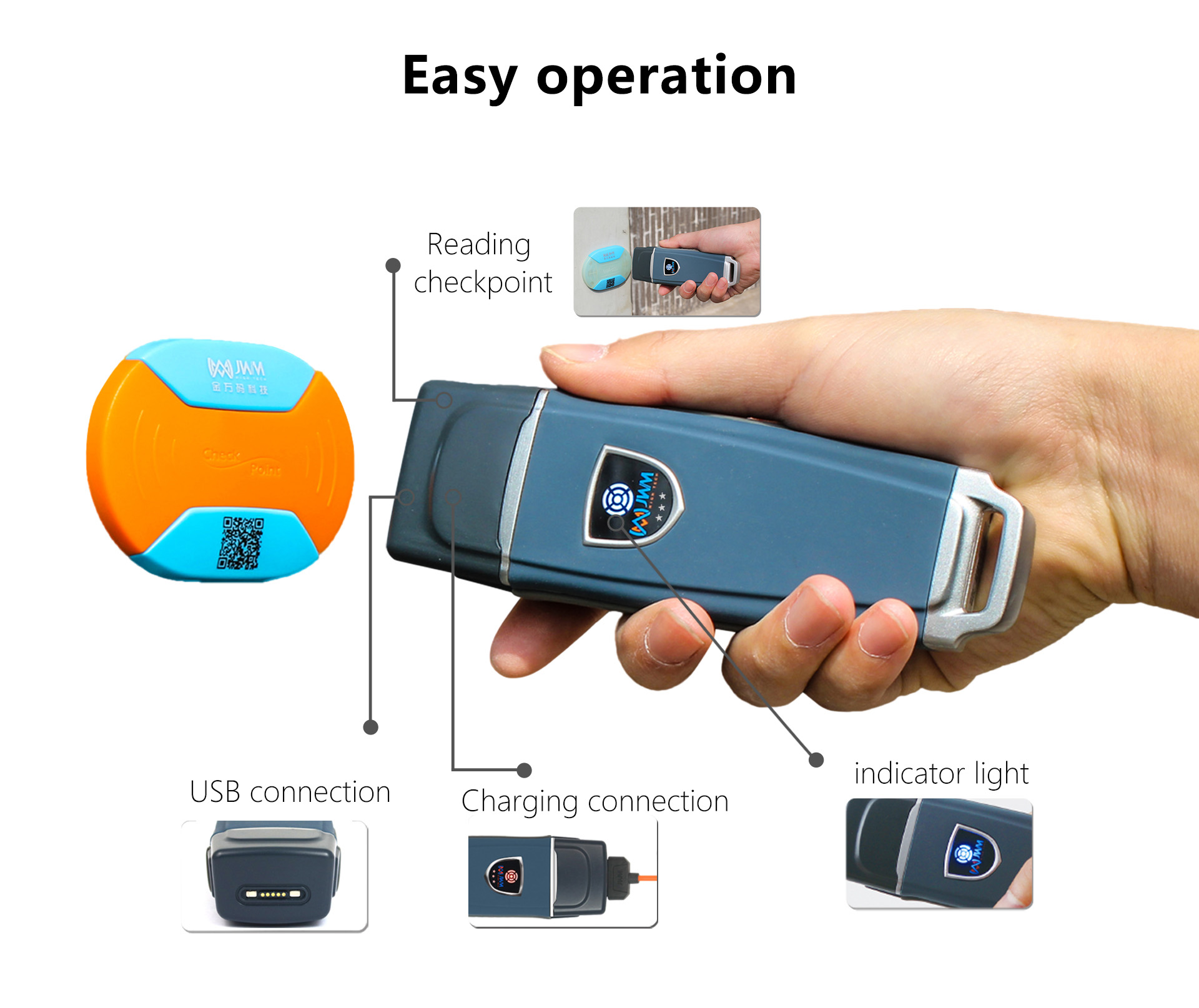 JWM Rugger RFID Guard Tour Patrol System With Free Cloud Software Waterproof IP67