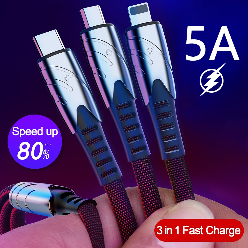 5A Fast Charging <font><b>3</b></font> <font><b>In</b></font> <font><b>1</b></font> USB Type C <font><b>Cable</b></font> for IPhone Samsung for Xiaomi Multi Fast Charge Charger Micro USB <font><b>Cable</b></font> 2 <font><b>In</b></font> <font><b>1</b></font> image