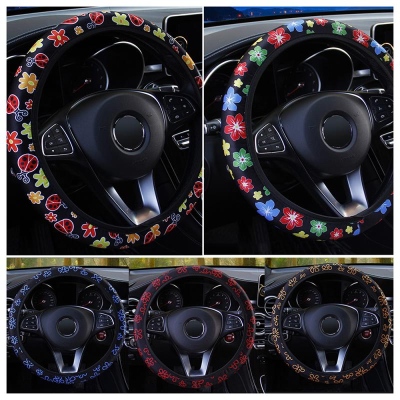 38cm Universal Car Steering Wheel Covers Flowers Print Anti-slip Auto Soft Styling Elastic Band Adjustable Skidproof Accessories