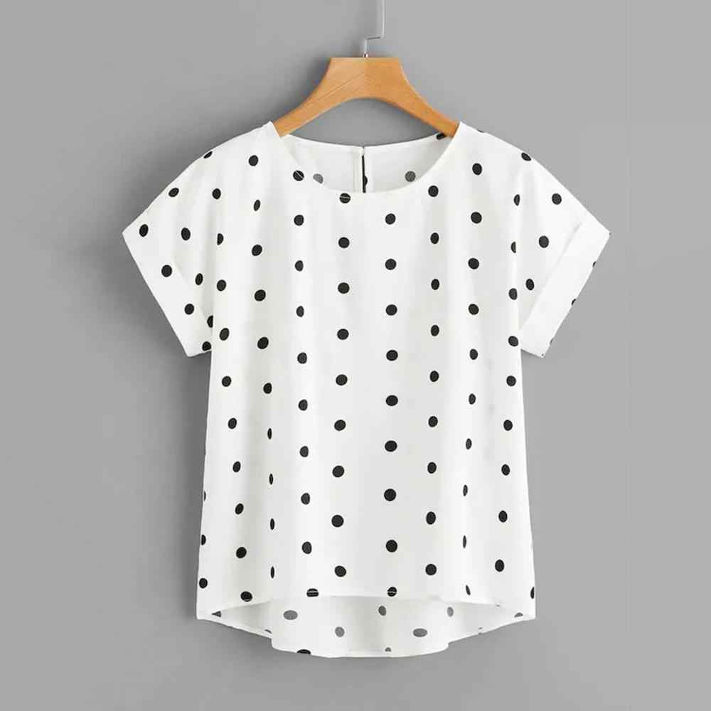Vrouwen Dot Print Zomer Casual Blouse Vrouwtjes V-hals Losse Top Shirt Dames Korte Mouwen Leisure Shirt Plus Size top Blusas
