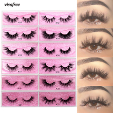 Visofree 5D Mink Eyelashes Long Lasting Mink Lashes Natural Dramatic Volume Eyelashes Extension Thick Long 3D False Eyelashes cheap Strip Lashes CN(Origin) Mink Hair above 1 5cm Black Cotton Band 41 styles Full Strip Lashes Hand Made 1 Pair 1 pink box