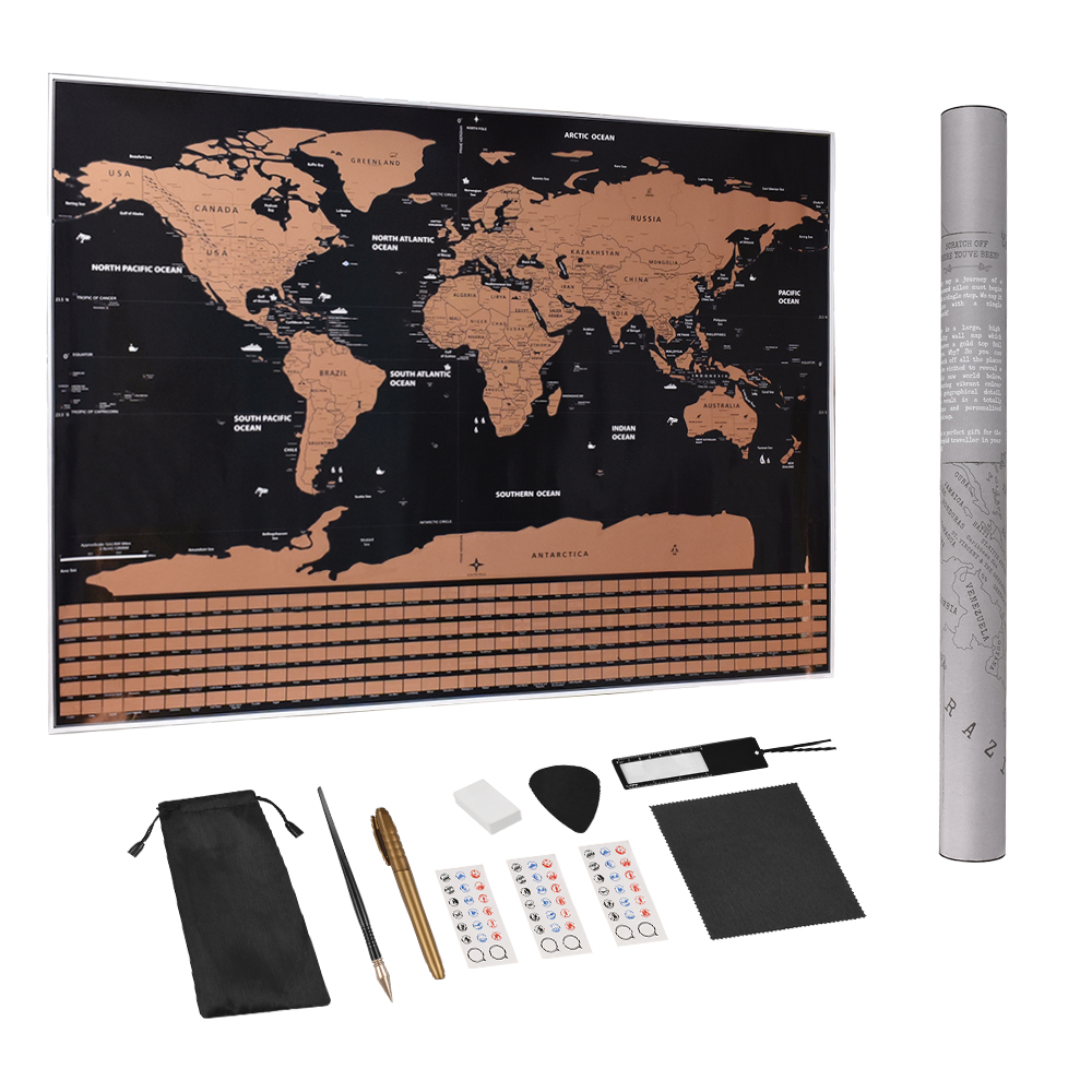 Large Size 82*59cm Scratch Off World Travel Map Premium Personalized Wall Sticker Poster All Country Flags Package For Travelers