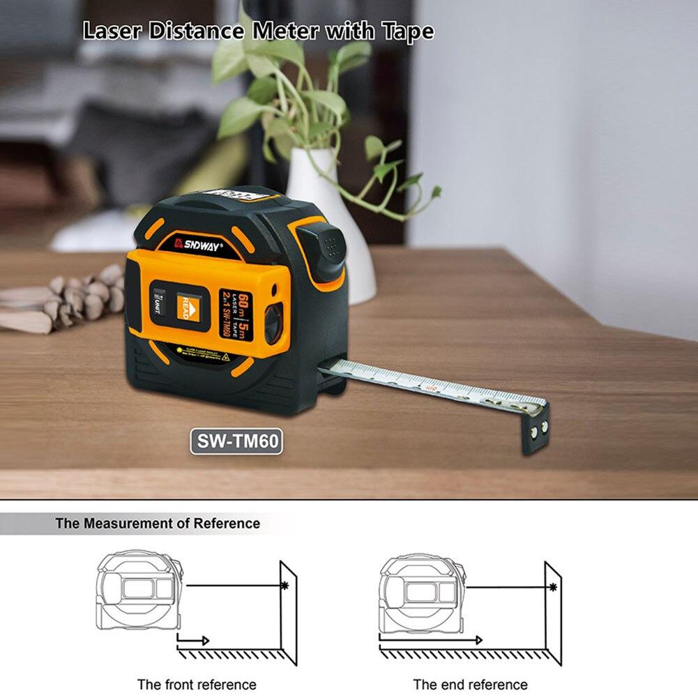 Herrscher Umfrage Werkzeug Laser Abstand Meter Reichweite Finder 40M 60M Laser Maßband Digitale Versenkbare 5m Laser entfernungsmesser