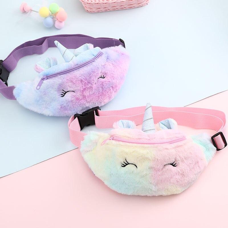 2020 Cute Unicorn Female Waist Bag Kids Fanny Pack Cartoon Plush Women Belt Bag Fashion Travel Phone Pouch Chest Bag
