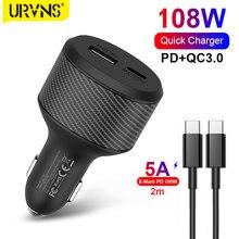 URVNS – Chargeur USB C, 108 W, pour voiture, adaptateur automatique, DC 12 V-24 V, PD 90 W, 65 W, 60 W, 45 W, charge de véhicule, pour Macbook, HP, Dell, ordinateurs portables