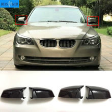 Side Wing Rearview Mirror Cover Cap For BMW 5 6 7 Series E60 E61 E63 E64 F01 F02-F04 F06 F07 F10 F11 F12 F13 Carbon Fiber Black