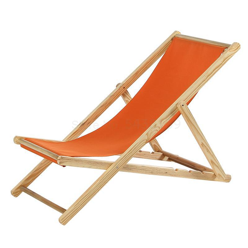 Beach chair lazy folding outdoor solid wood deck chair net red Oxford canvas balcony home leisure siesta easy