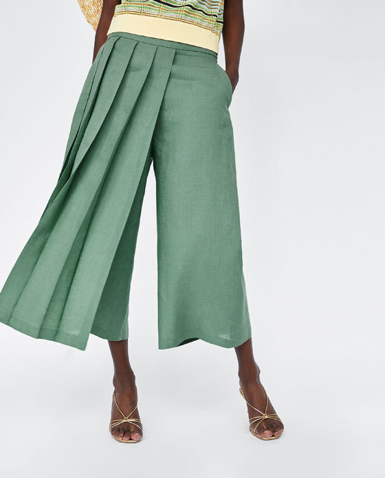Europe And America Wholesale 2018 Summer New Style Pleated Decoration Linen   Pants   Casual   Capri     Pants   C5-0028