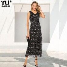 YUBAIBAI 2019 Sexy Neck Tassel Sequin Sleeveless Evening Dress Women Elegant Long Pary Dinner Prom Dresses for Female