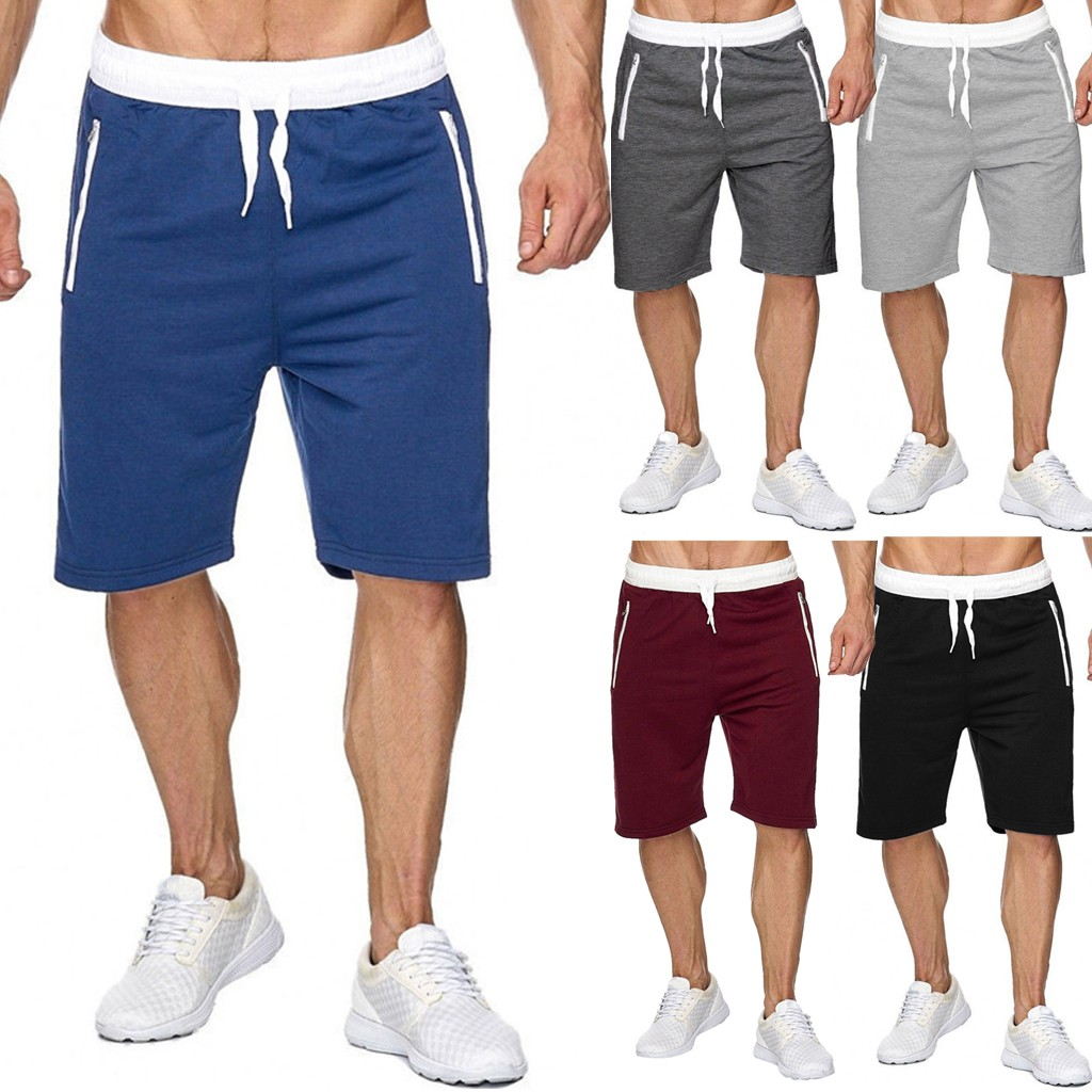 Men Sports Shorts Casual Bodybuilding Pure Zipper Pocket Flexible Waist Short Pants Шорты Мужские Летние Bermudas Masculina