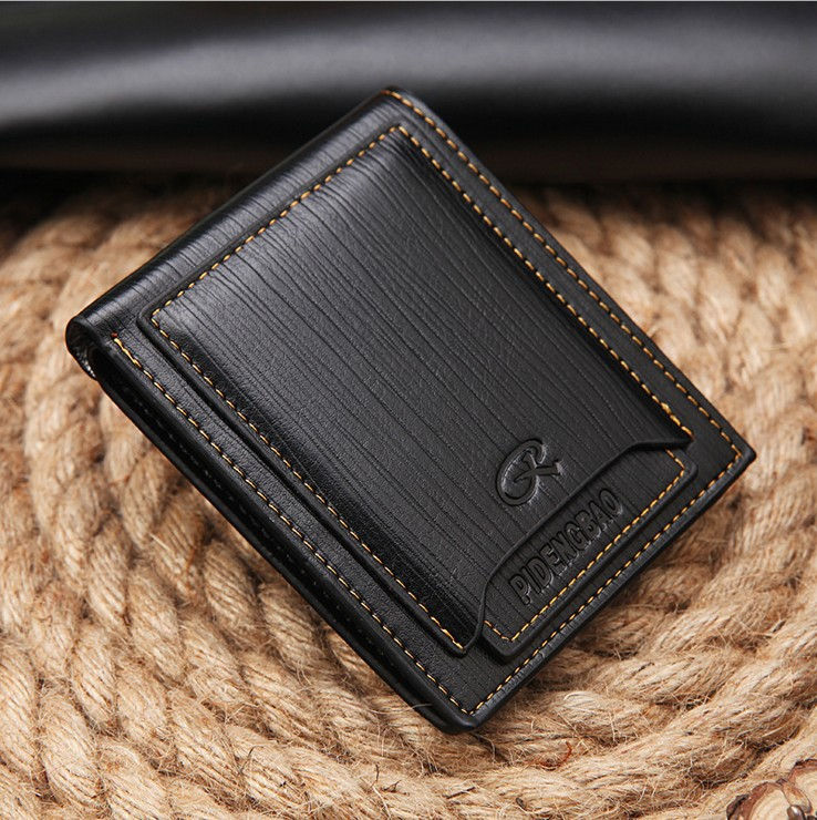 Wallet Men Leather Short Credit Card Slim Luxury Ticket Window ID  Purse Wallet