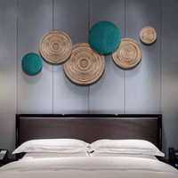Modern Wood Wall Hanging Crafts Wall Decorations Porch Restaurant Wall Sticker Ornaments Hotel Home Wall Mural Furnishing Decor