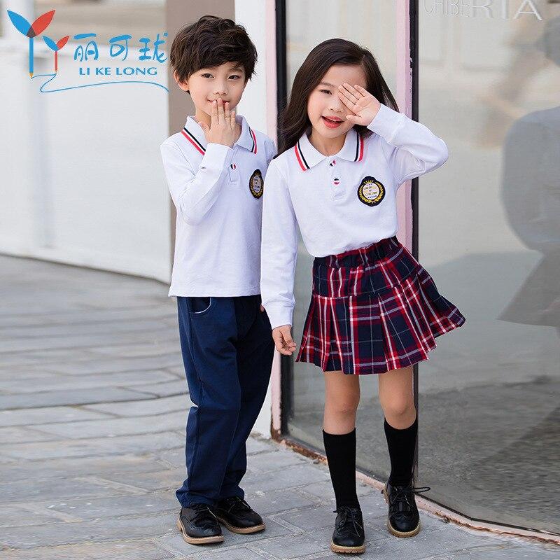 Young STUDENT'S Summer School Uniform 2019 Fashion Men And Women Children Business Attire Two-Piece Set Kindergarten Suit Summer