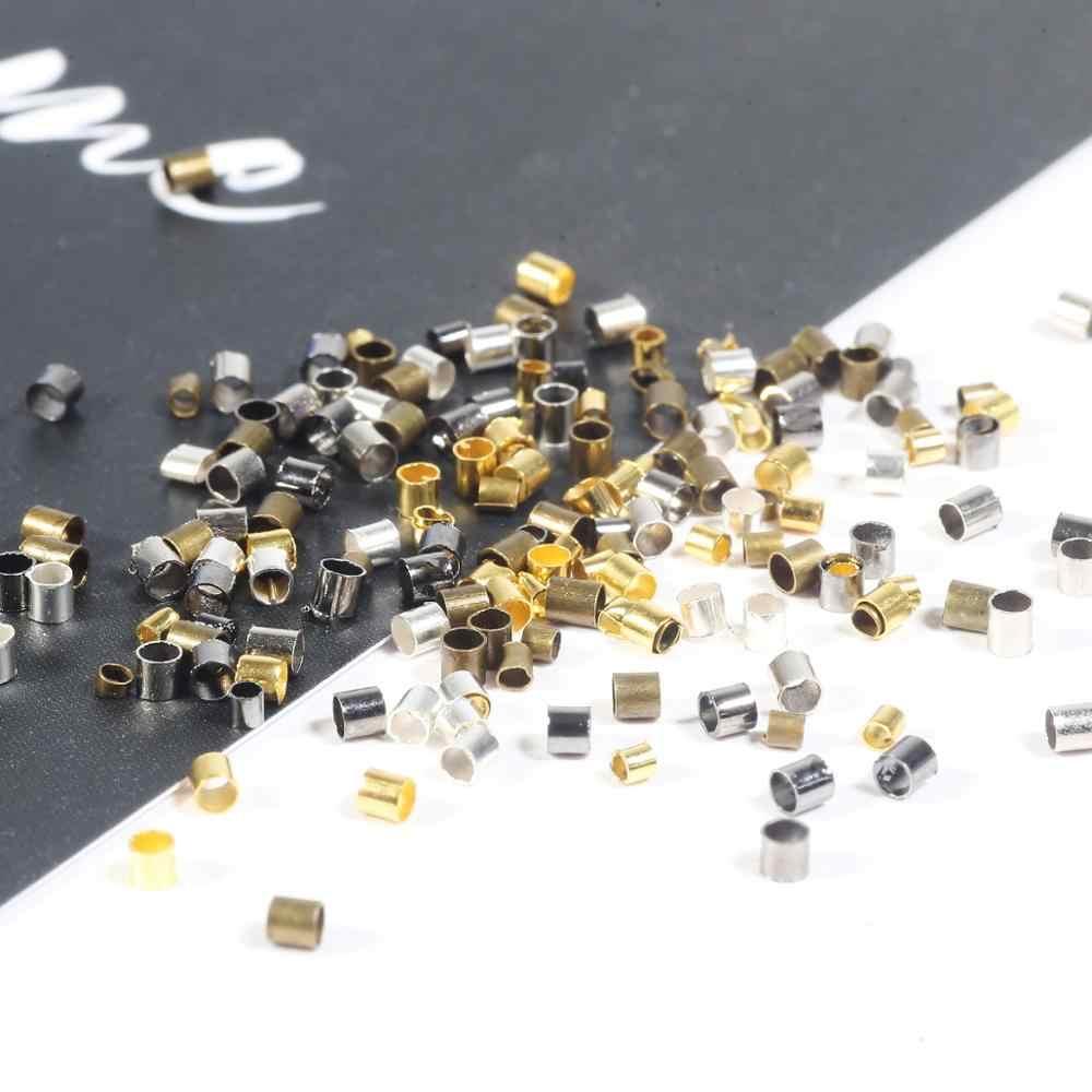 500 قطعة 1.5/2.0 مللي متر الذهب الفضة النحاس أنبوب تجعيد نهاية الخرز سدادة خزر عازل لصنع المجوهرات النتائج قلادة لوازم