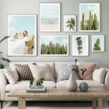 Girls Cactus Coconut Tree Banana Leaf Sea Wall Art Canvas Painting Nordic Posters And Prints Wall Pictures For Living Room Decor cactus coconut leaves quote wall art canvas painting nordic posters and prints landscape wall pictures for living room decor