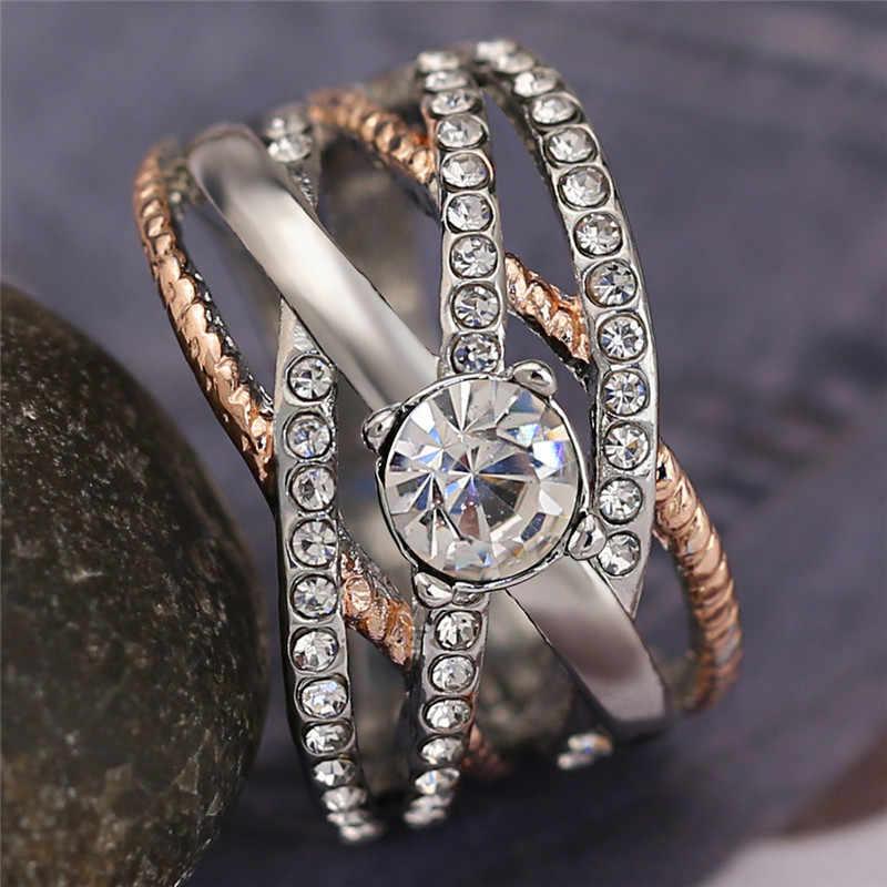 หญิงหรูหราคริสตัลรอบหมั้นแหวนน่ารัก 925 เงิน Rose Gold Zircon แหวนหินแหวนแต่งงาน Vintage