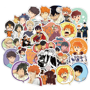 50PCS Japan Anime Haikyuu!! Cartoon Sticker For Luggage Laptop Skateboard Car Bicycle Backpack Decal Pegatinas Toy Stickers F4