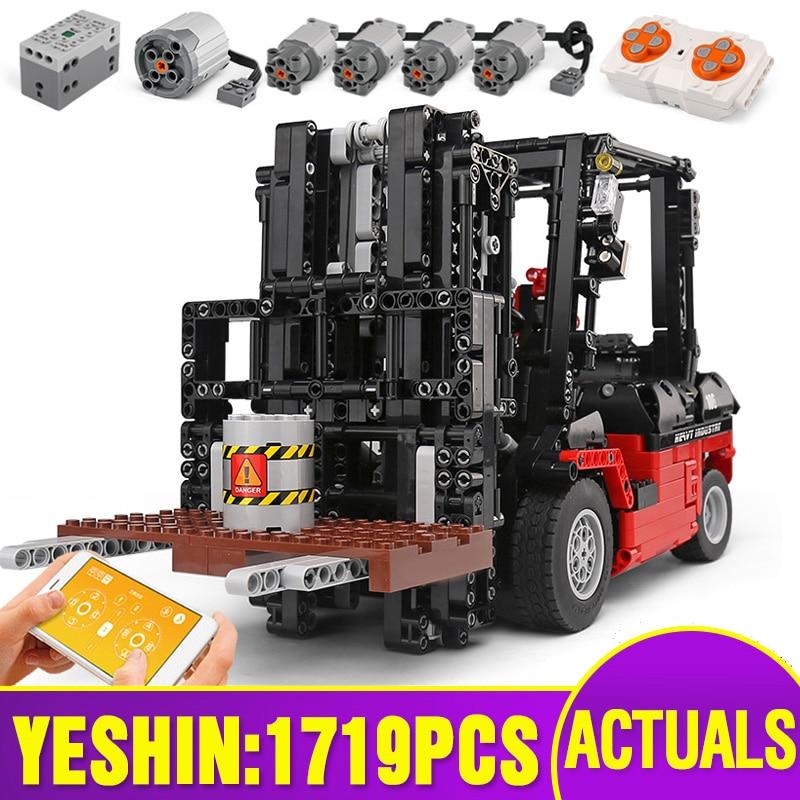 Yeshin Technic Motor Car Toys The Legoing 3681 Motor Forklift Mk II Assembly Toys Kids Christmas Gifts Building Blocks Bricks