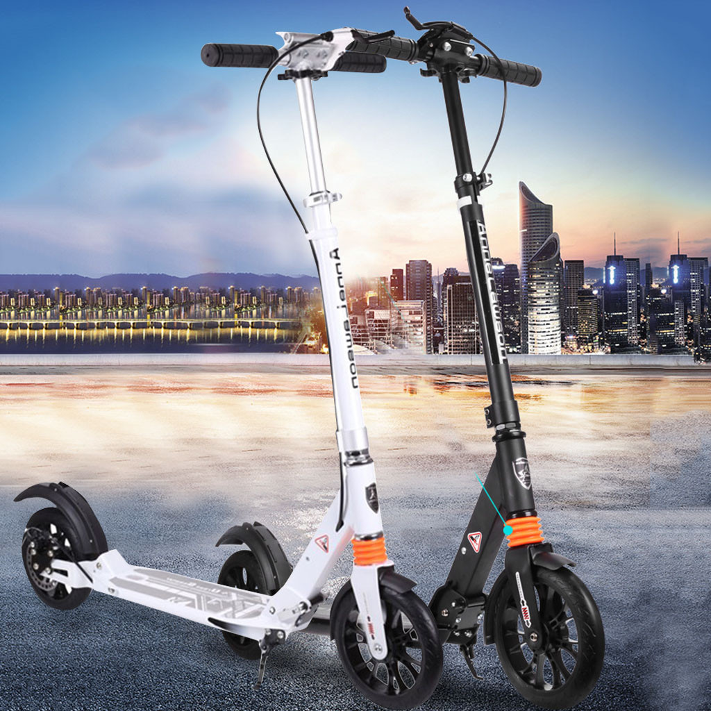 Kick-Scooter Foldable Non-Electric Adult Outdoor Hight Black/white Anti-Shock -Gh45