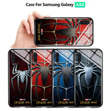 Untuk Samsung Galaxy A50 A30S A50S Kasus Marvel Spiderman Spider Logo Case Tahan Guncangan Lembut Kaca Tempered Back Cover Casing(China)