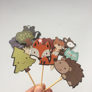 Image 3 - 24pcs Woodland Creatures Cake Toppers Jungle Forest Animal Cupcake Toppers for Kids Birthday Party Decorations Dessert supplies