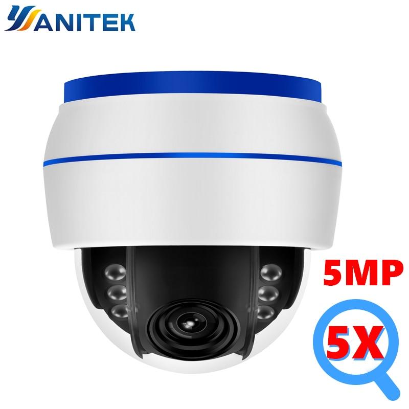 HD 5MP Dome IP Kamera Sony335 WiFi PTZ 5X Optische Zoom CCTV Video Überwachung Kamera 128G SD Karte Mic sound Rekord Onvif