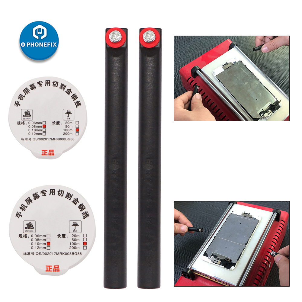 0.08m 0.1mm Steel Wire Cutting Phone Screen Cutting Separator Line With Handle For IPhone And IPad LCD Screen Replacement Kit