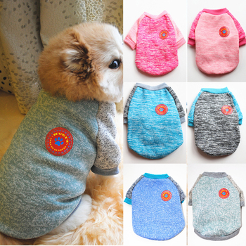Autumn Winter Pet Dog Knitted Sweater Velvet Warm Sweater Dogs Pet Clothes Sweatshirt Solid Thicken Warm Small Dog Sweater image