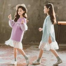 2020 платье с длинными рукавами; Кружевное детское платье; Рождественская