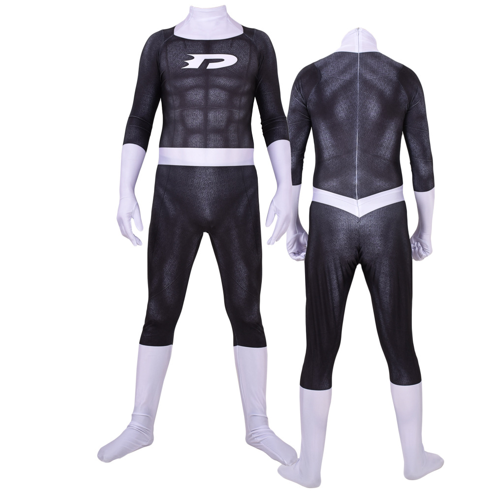 Danny Phantom Superhero Cosplay Costume Zentai Fullbody Anime Danny Phantom Jumpsuits Suit Bodysuit Adults Kids