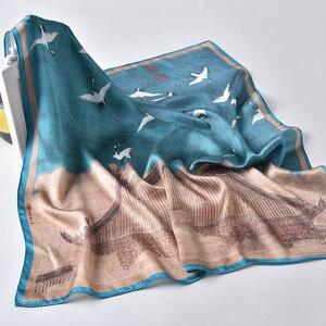Image 3 - Bufanda de 100% Real para mujer, bufanda de seda con estampado Floral hiyab de satén, pañuelos cuadrados de lujo de marca, pañuelo para el cuello, bufandas para mujer