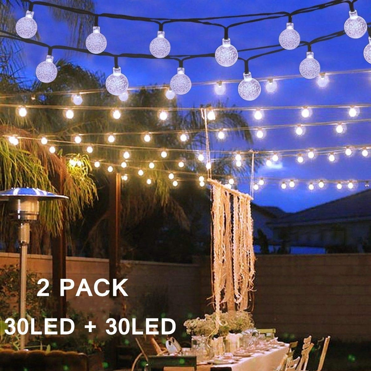 Solar Globe Lights LED String Lights 30 LED 19.8ft  Waterproof Fairy Garland For Outdoor Garden Christmas Wedding Decoration