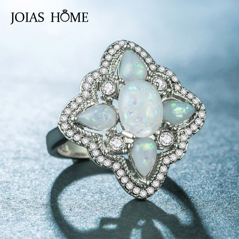 JoiasHome Classic 925 Silver Ring For Women With Blue Opal Gemstone Silver Fine Jewelry Women Party Gift Wholesale Size 6-10