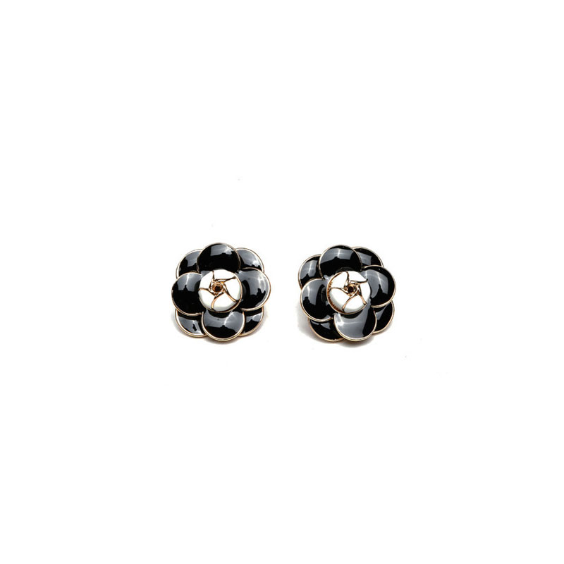 Famous Luxury Brand Designers Jewelry Small Camellia Flowers Charm Fashion gold-color Stud Earrings For Women