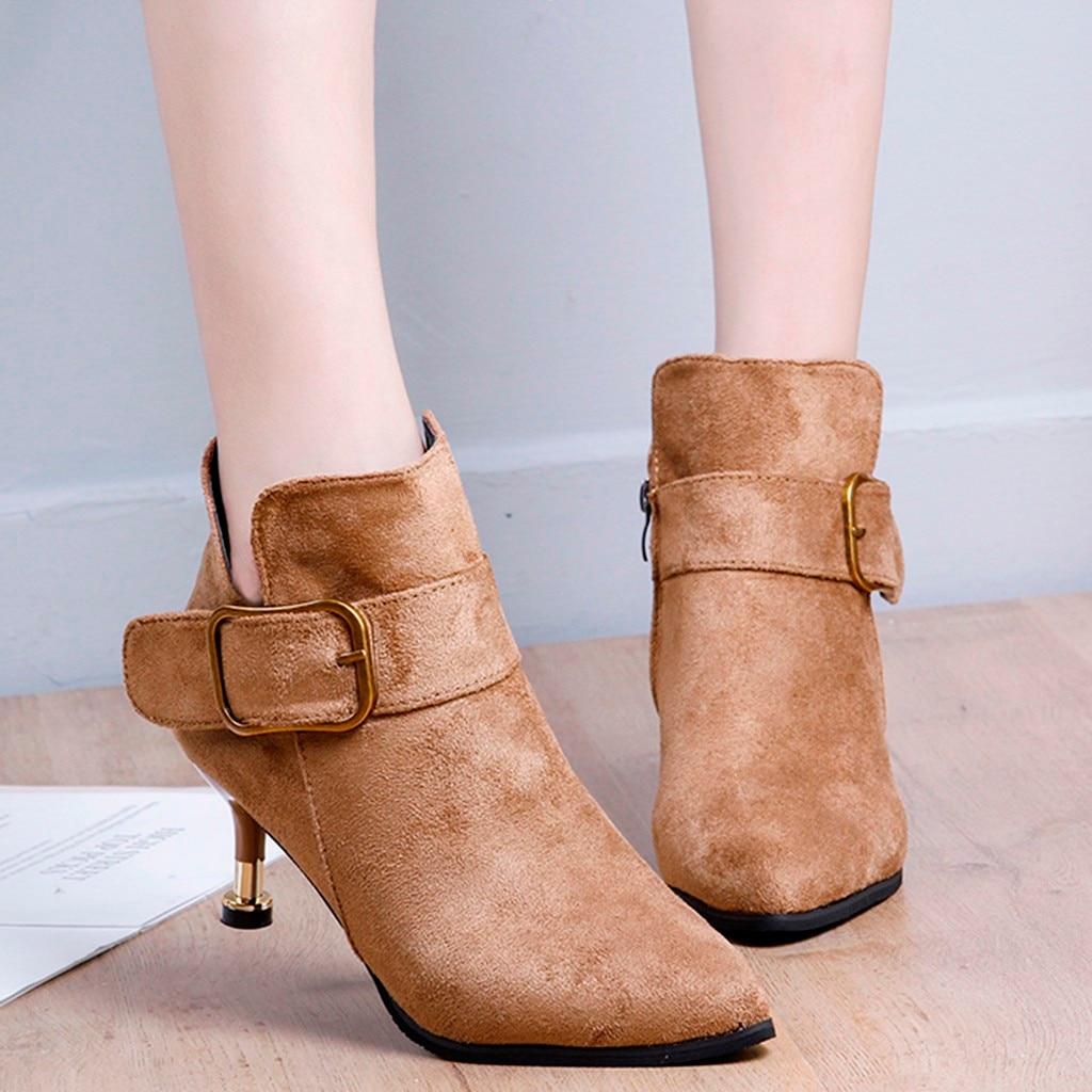 Mode dame PU chaud hiver bout pointu chaussures élégantes femmes rétro boucle troupeau bottines à fermeture éclair Spike mince talons hauts chaussures