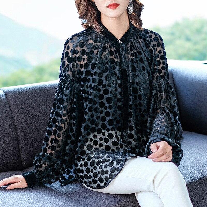 Automne hiver femmes Blouse dentelle gracieuse mode nouvelle marée haute qualité chemises hauts à manches longues