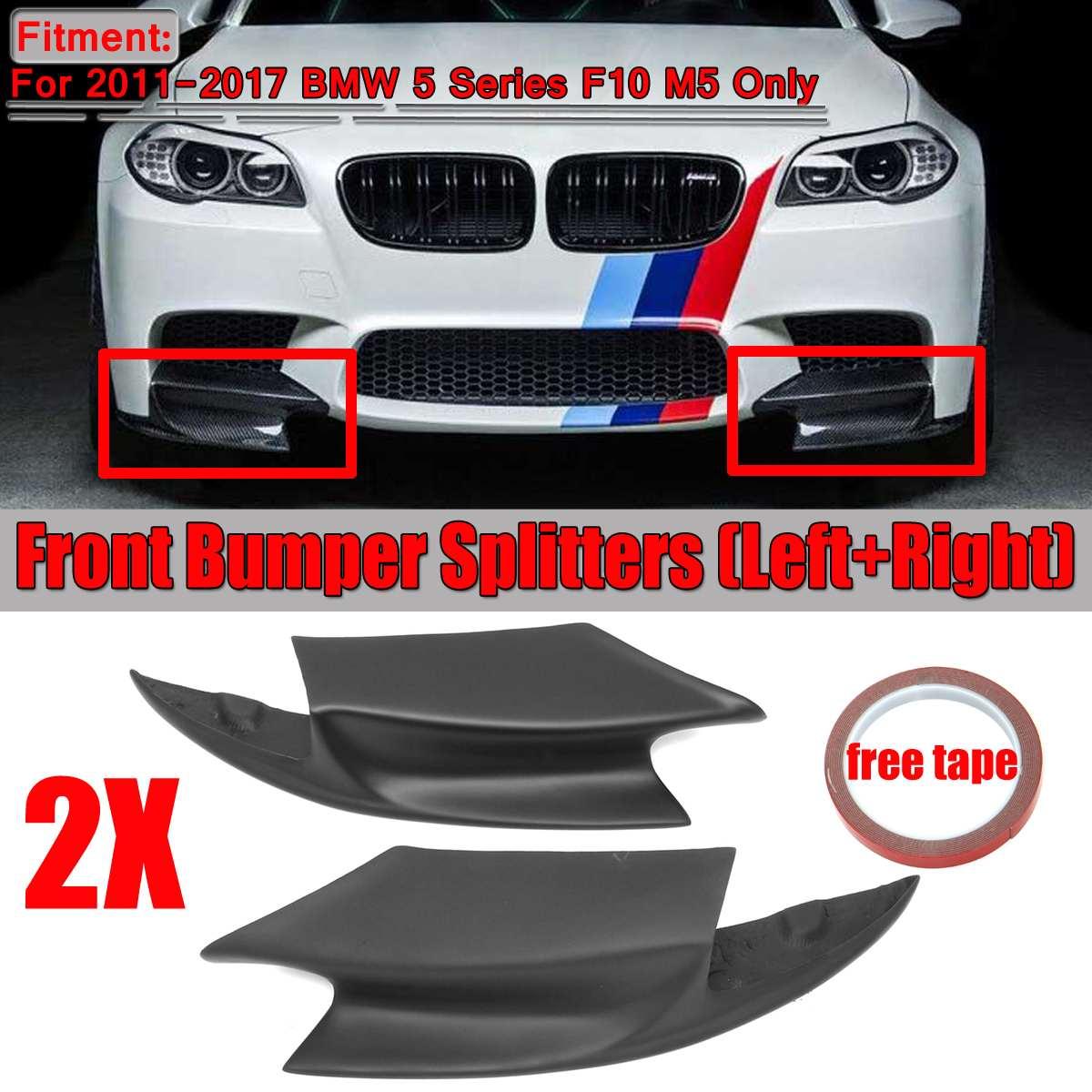1 paire vraie Fiber de carbone/démissionner F10 M5 voiture avant pare chocs séparateurs lèvre corps Kit Spolier pour BMW série 5 F10 M5 2011 2017|Pare-chocs| |  -