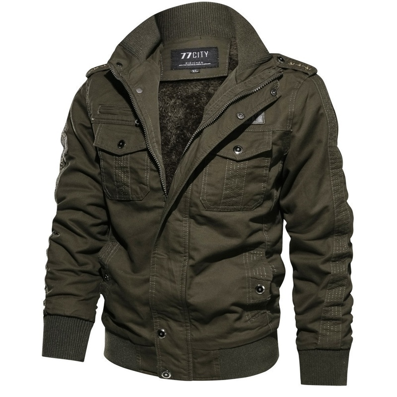 ZOGAA Men Military Jacket Winter Cotton Warm Jacket Coat Outdoor Pilot Army Military Air Overcoat Force Army Cargo Jaqueta M-6XL