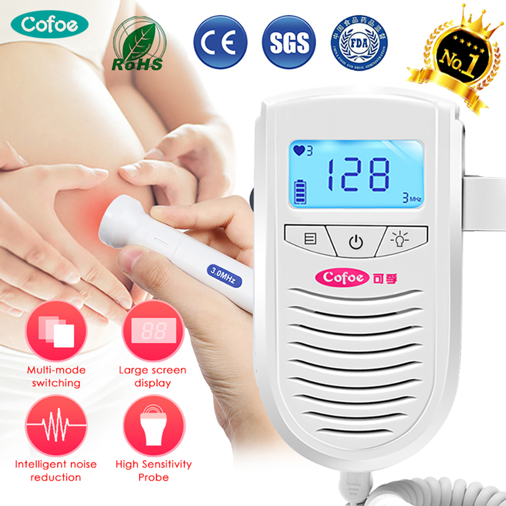 Cofoe Fetal Doppler Ultrasound Baby Heartbeat Detector Home Pregnant Doppler Baby Heart Rate Monitor Pocket Doppler monitor 3.0M(China)