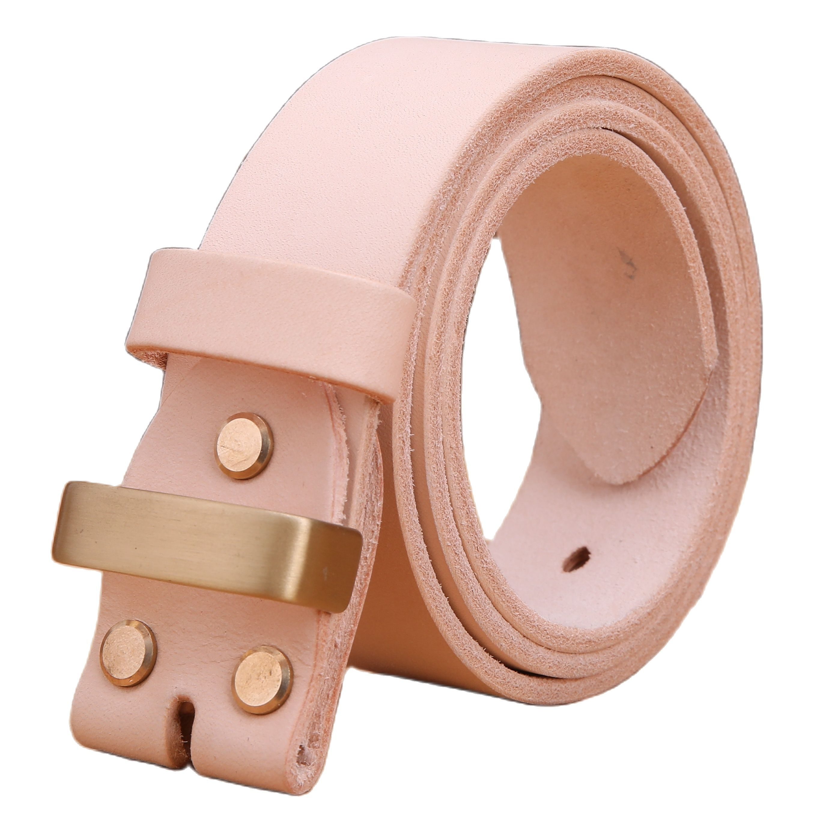 vegetabel tanned 100% genuine leather belt without gold pin buckle for mens belts luxury cowboys match jeans 3.8 cm high quality