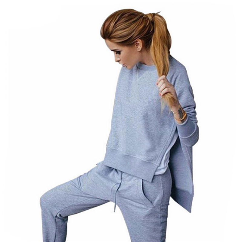 Autumn Tracksuit Long Sleeve Slit Solid Sweatshirts Casual Suit Women Clothing 2 Piece Set Tops+Pants Suit Female Pullovers