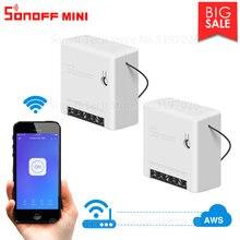 Itead 2/4/8 pçs sonoff mini diy inteligente pequeno interruptor de controle remoto wifi suporte um trabalho interruptor externo com alexa google casa