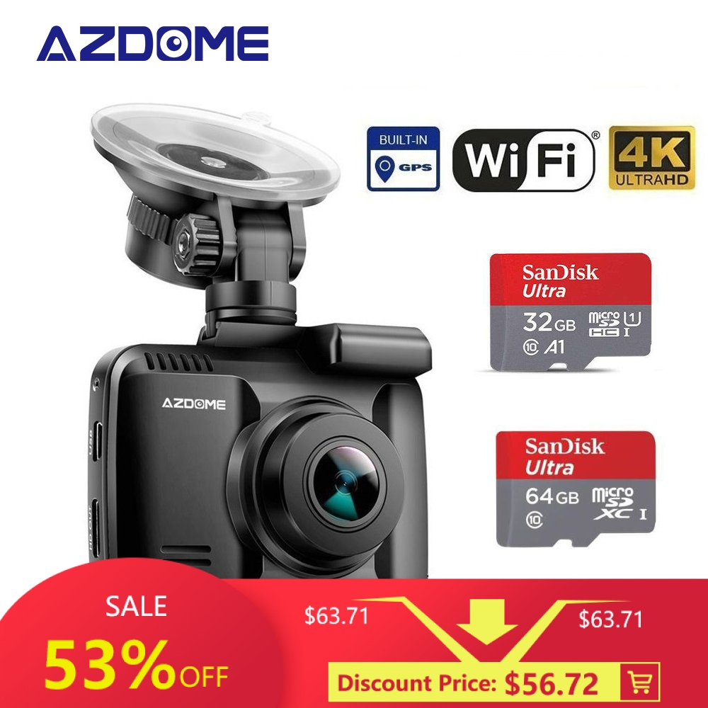 AZDOME Dash-Cam Dvr Parking-Monitor Gps-Wifi Night-Vision Built-In 4K with WDR 24H Original