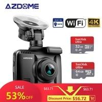 AZDOME GS63H 4K car camera built in GPS WIFI car dvr with real camera WDR night vision camera dash cam Dual Lens dashcam