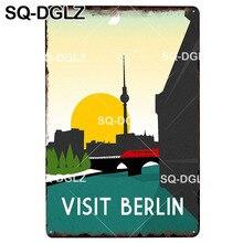 [SQ-DGLZ] cartel de Metal de la placa de la ciudad de BERLIN, cartel de lata Vintage, decoración del hogar, etiqueta engomada de la pared del Bar, pintura de la decoración del café cartel