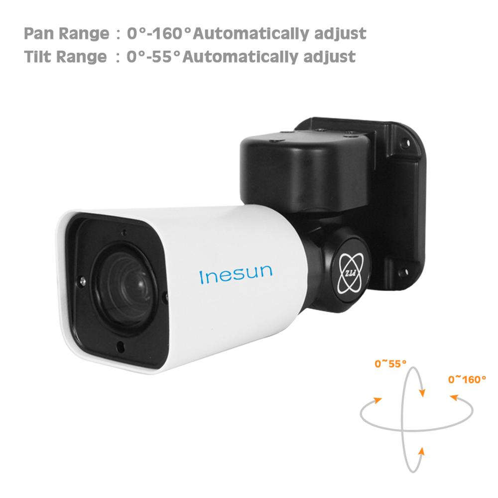 Inesun 2MP/5MP Super HD Mini PTZ IP Camera Outdoor 4X Optical Zoom PTZ Camera H.265 120ft IR Night Vision P2P Onvif Waterproof