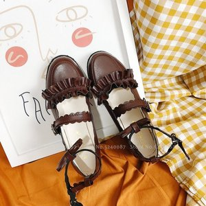 Image 2 - Girls Lolita Kawaii Doll Ruffle School Single Leather Shoes Women Japanese Style JK Academy Princess Anime Party Cosplay Coatume